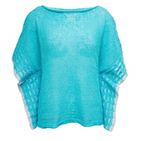 Image for Linen Boat Neck Top Aqua