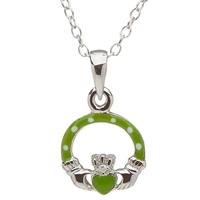 Image for Little Miss Diamond Claddagh Pendant, Green