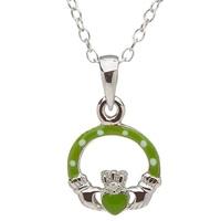 Image for Little Miss Diamond Claddagh Pendant, Green