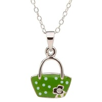 Image for Little Miss Shamrock Diamond Purse Pendant, Green