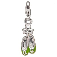 Image for Sterling Silver Diamond Green Enamel Dancing Shoes Charm
