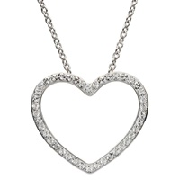 Image for Silver Heart Shape Pendant Adorned with White Swarovski Crystal