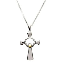 Image for Claddagh Silver Cross with Gold Plate Heart