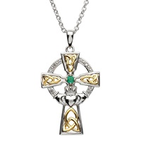 Image for Silver Celtic Trinity Cross Set with Emerald and Diamond