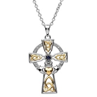 Image for Silver Celtic Trinity Cross Set with Sapphire and Diamond