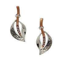 Image for Keith Jack Trinity Leaf White Sapphire Earrings - Large S/Sil + 10K Rose Gold Oxidized