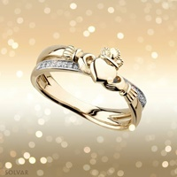 Image for 14K Diamond Claddagh Kiss Crossover Ring