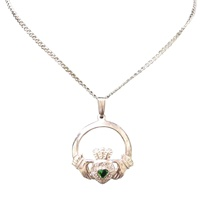 Image for 10K White Gold CZ and Green CZ Claddagh Pendant
