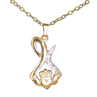 Image for Teardrop Swirl Claddagh Pendant with Diamond