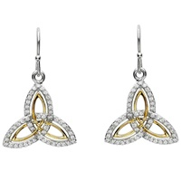Image for Silver Two Tone Stone Set Trinity Knot Earrings