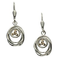 Keith Jack Celtic Cradle of Life Earrings Sterling Silver and 10K Leverback