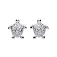 Image for Sterling Silver Stud Turtle Crystal Earrings