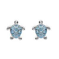Image for Sterling Silver Stud Turtle Aqua Crystal Earrings