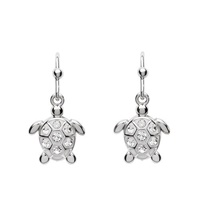 Image for Sterling Silver Drop Turtle White Crystal Earrings