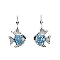 Image for Sterling Silver Drop Aqua Fish Earrings