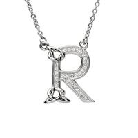 Sterling Silver Swarovski Initial R Pendant