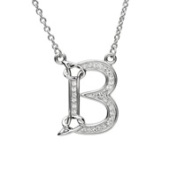 Sterling Silver Swarovski Initial B Pendant