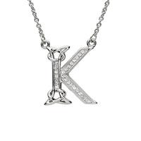 Sterling Silver Swarovski Initial K Pendant