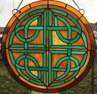 Image for Celtic Round Tiffany Style Stained Glass Sun Catcher