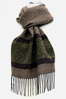 Image for Calzeat Celtic Border Jacquard Scarf, Nordic Forest