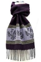Celtic Alba Thistle Jacquard Scarf, Purple