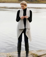 Image for Open Front Waterfall Sleeveless Cardigan, Grey
