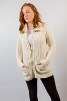 Image for Merino Wool Aran Zip Cardigan, Natural