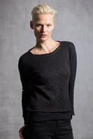 Image for Irish Linen and Cotton Medium Pico Top, Black