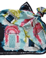 Image for Georgian Door Silk Scarf, Blue/Pink