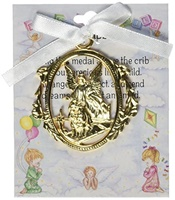 Image for Gold Angel Crib Medal with White Ribbon Gift Boxed