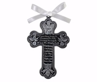 Image for Guardian Angel Pewter Cross Crib Medal with White Ribbon