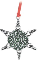 Image for Celtic Snowflake Ornament with Green Epoxy and Ribbon