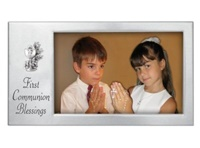 Image for Satin Silver 1st Communion Blessing Horizontal Frame with Chalice
