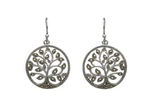 Image for Marcasite Tree of Life Drop Earrings