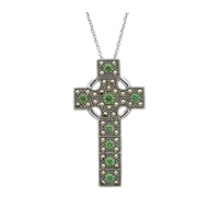 Image for Marcasite and Emerald Adorned Celtic Cross