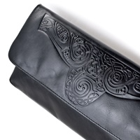 Image for Ciara Leather Clutch Bag with Strap, Black by Lee River