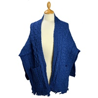 Image for Aran Merino Wrap with Pockets, Atlantic Blue