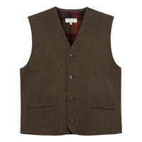 Image for Gents Moss Green Waistcoat with Plaid Interior