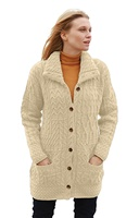 Image for Buttoned Funnel Neck Wool Cardigan, Merino White