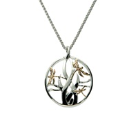 Image for Sterling Silver and 10K Gold Dragonfly in Reeds Pendant, Small