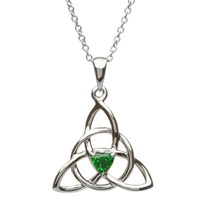 Image for Celtic Trinity Silver Emerald Stone Set Pendant
