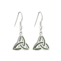 Sterling Silver Connemara Trinity Knot Drop Earrings