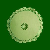 Image for Green Embroidery Celtic Motif Round Table Mat, Large