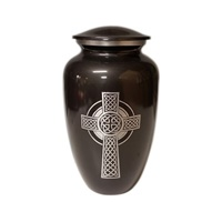 Image for Celtic Cross White Metal Urn, Medium