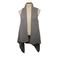 Image for Open Front Waterfall Sleeveless Cardigan, Ocean Blue