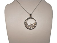 Image for Trinity Wave Emerald Pendant in Sterling Silver