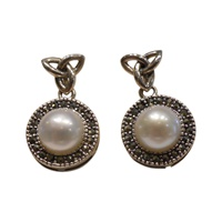 Image for Celtic Trinity Fresh Water Pearl Marcasite Earrings