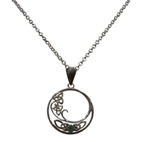Image for Trinity Wave Emerald Pendant in Sterling Silver Small