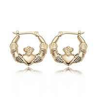 Image for Petite Claddagh Hoop Earrings 14K Gold