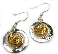 Image for Spiral of Life 22ct Gold Vermeil Spiral Circle Large Earrings